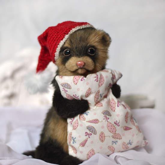 Christmas Ferret.Teddy Ferret Christmas Gn By Nadya Yuditskaya