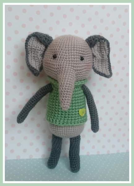 Nina is an adorable crocheted Elephant made with a PDF pattern The ... | 600x433